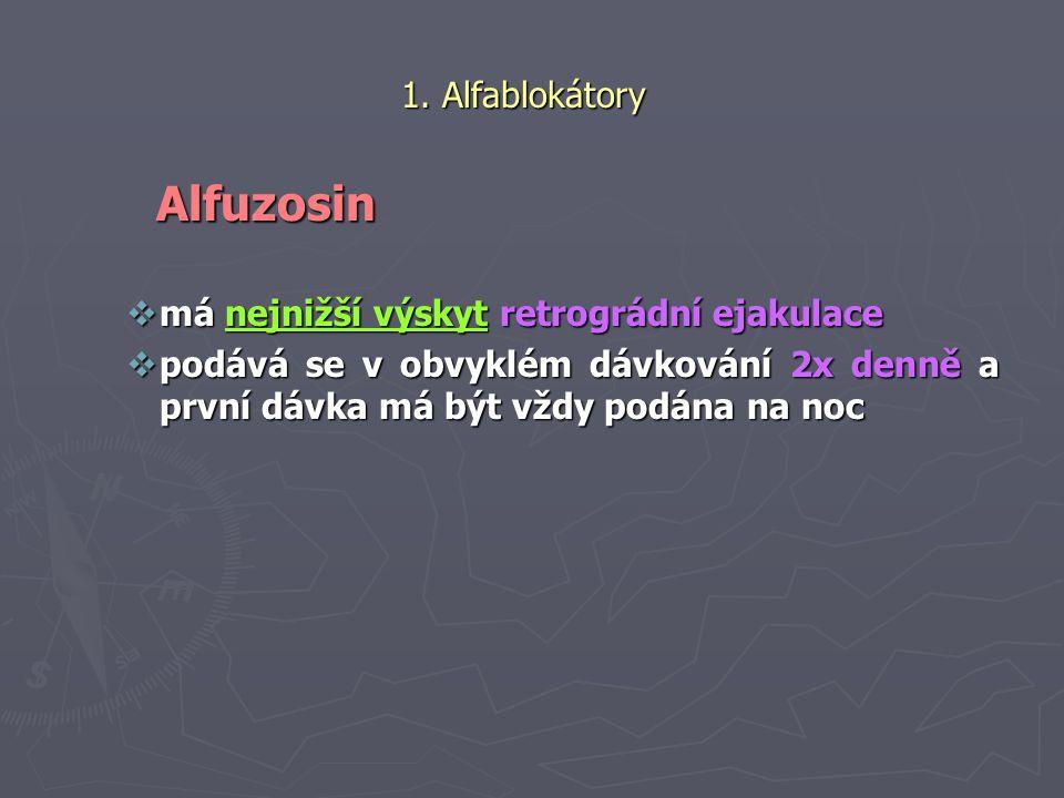 Alfuzosin 1. Alfablokátory má nejnižší výskyt retrográdní ejakulace