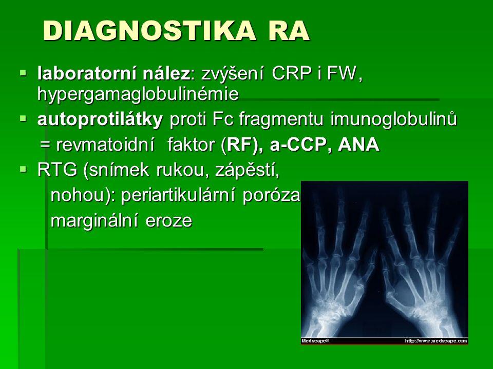 DIAGNOSTIKA RA laboratorní nález: zvýšení CRP i FW, hypergamaglobulinémie. autoprotilátky proti Fc fragmentu imunoglobulinů.