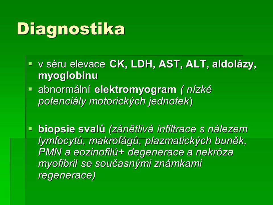 Diagnostika v séru elevace CK, LDH, AST, ALT, aldolázy, myoglobinu