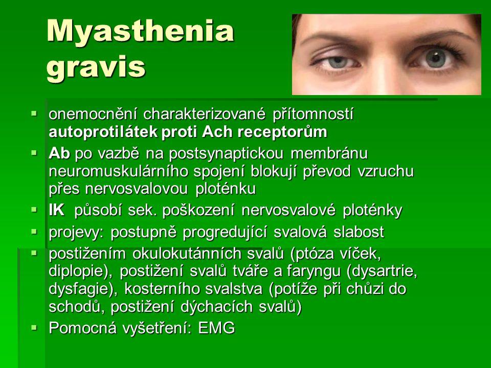 Myasthenia gravis onemocnění charakterizované přítomností autoprotilátek proti Ach receptorům.