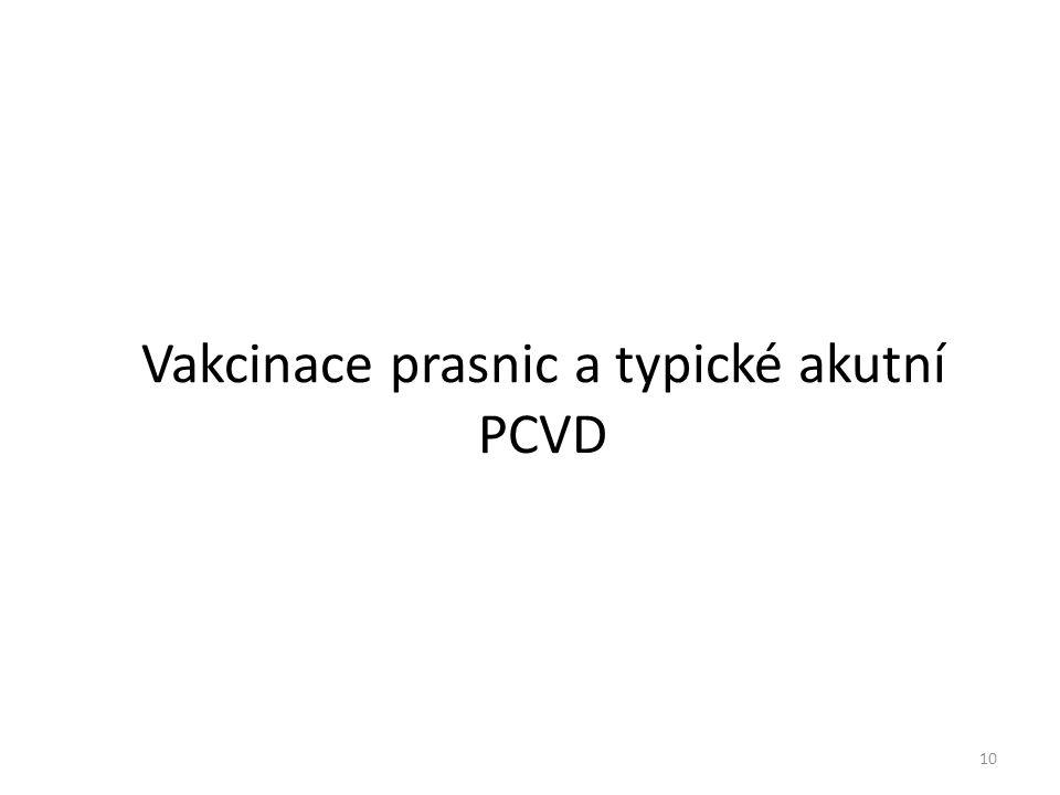 Vakcinace prasnic a typické akutní PCVD