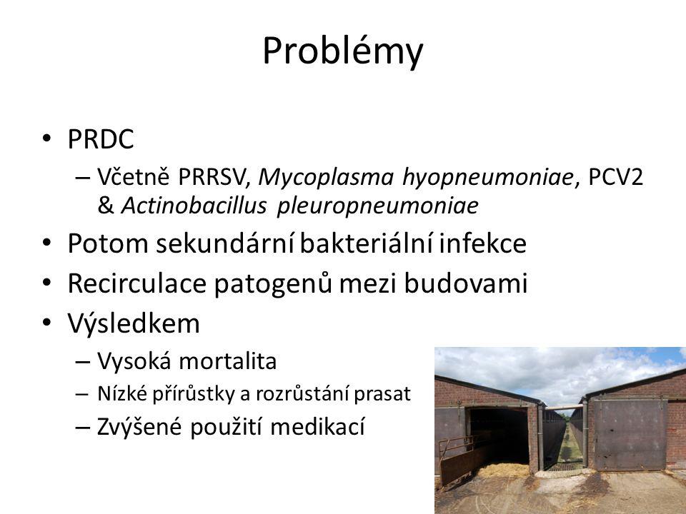 Problémy PRDC Potom sekundární bakteriální infekce