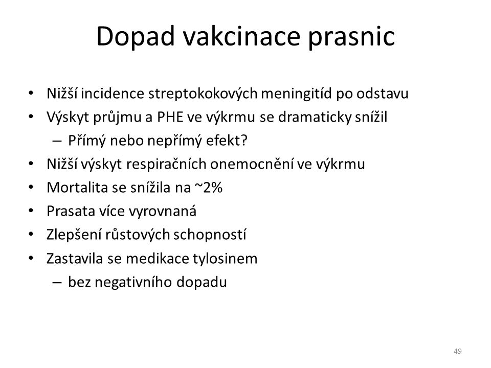 Dopad vakcinace prasnic