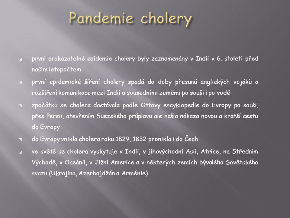 Pandemie cholery první prokazatelné epidemie cholery byly zaznamenány v Indii v 6. století před naším letopočtem.