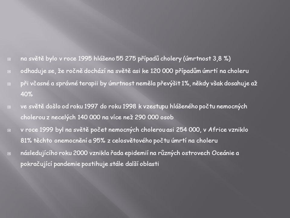 na světě bylo v roce 1995 hlášeno 55 275 případů cholery (úmrtnost 3,8 %)