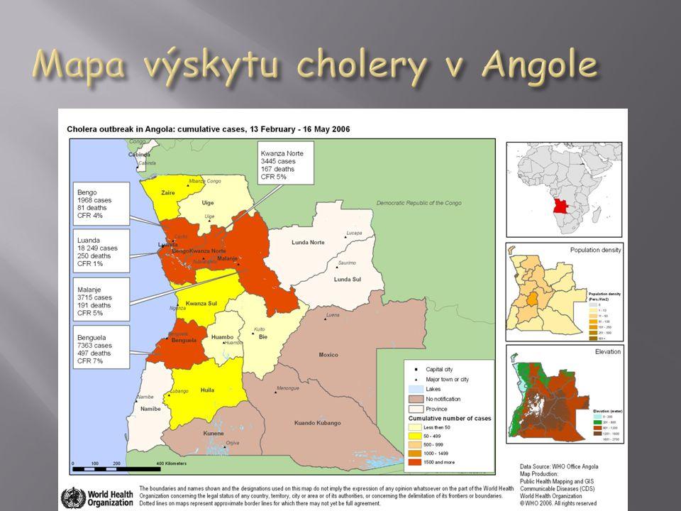 Mapa výskytu cholery v Angole