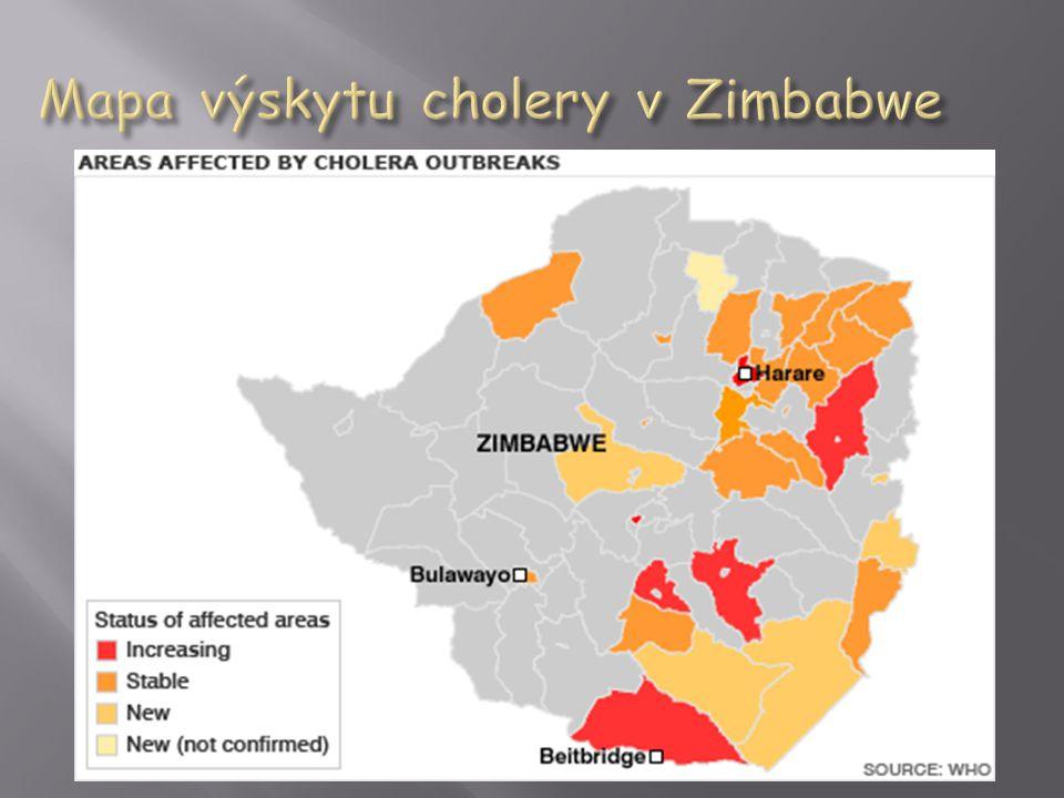 Mapa výskytu cholery v Zimbabwe