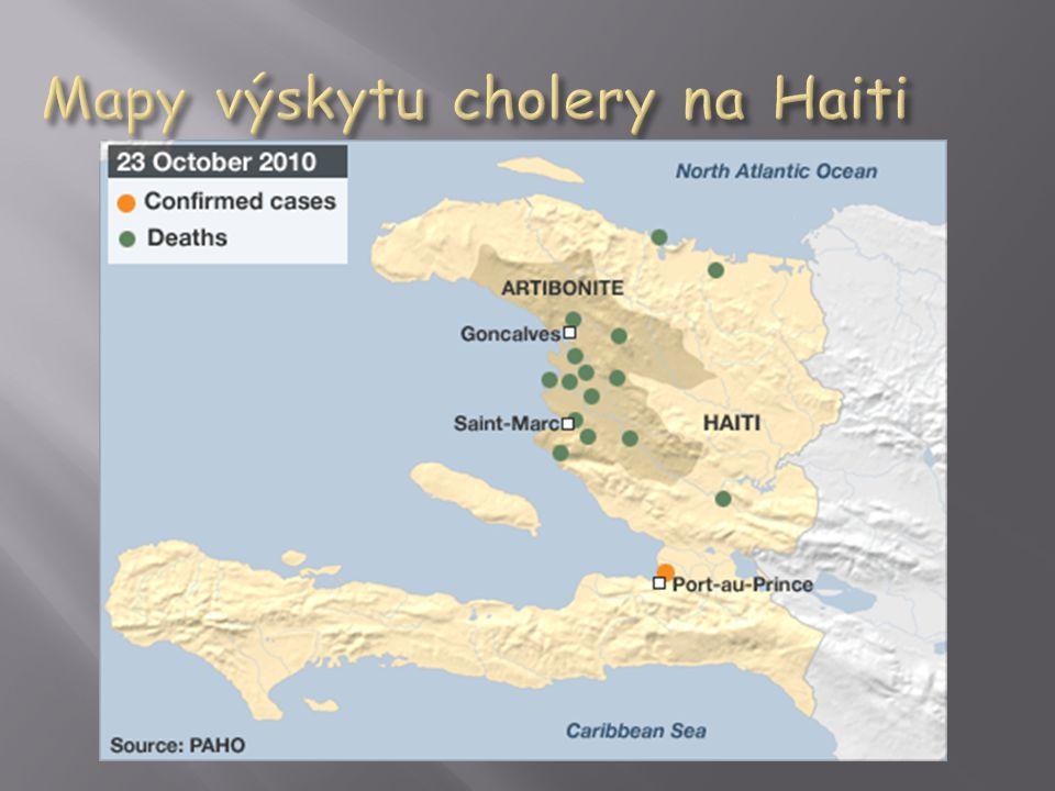 Mapy výskytu cholery na Haiti