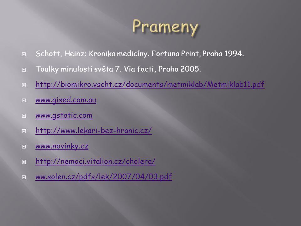 Prameny Schott, Heinz: Kronika medicíny. Fortuna Print, Praha 1994.