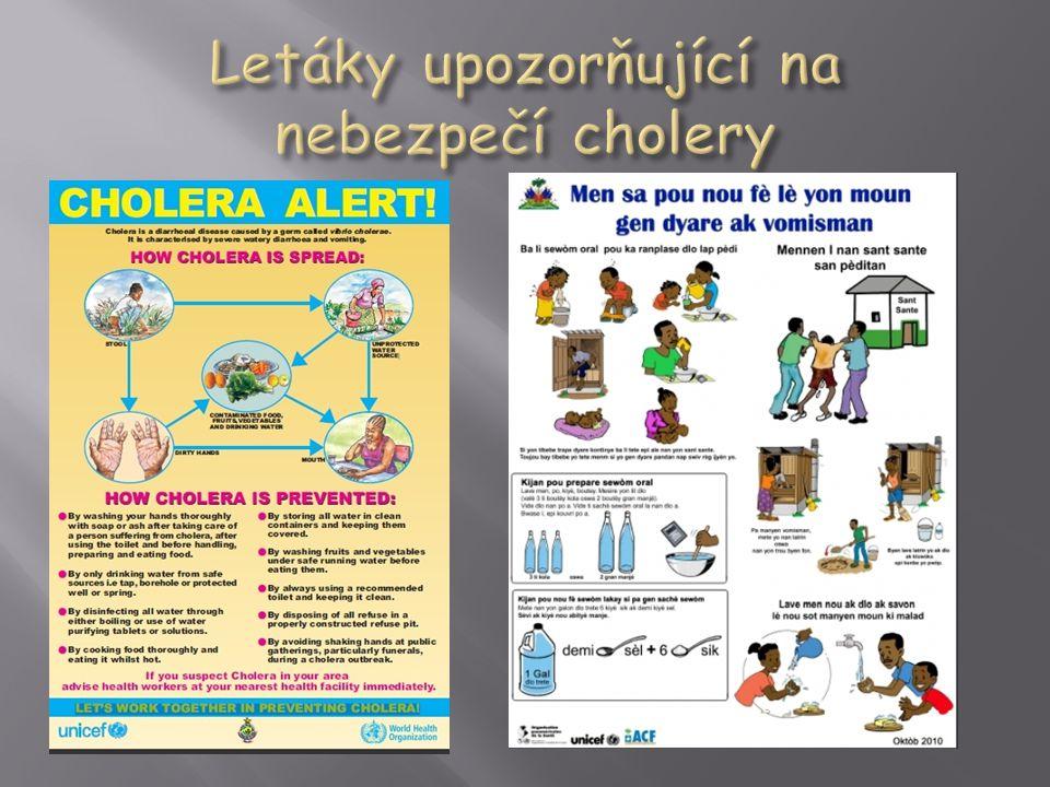 Letáky upozorňující na nebezpečí cholery