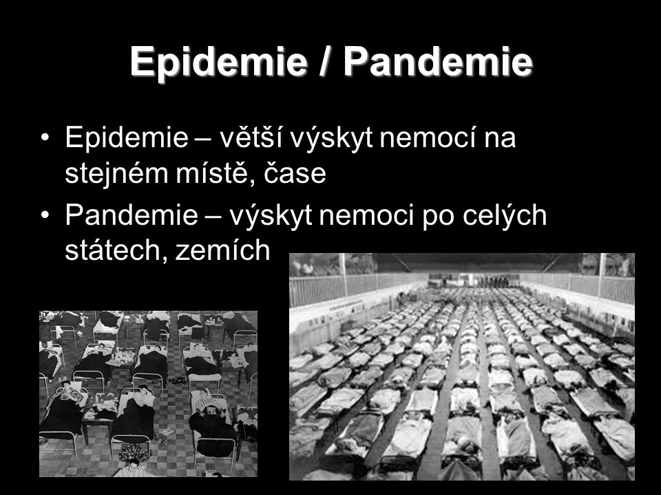 Epidemie / Pandemie Epidemie – větší výskyt nemocí na stejném místě, čase.