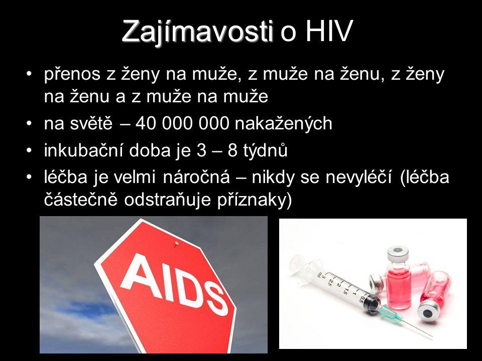 Zajímavosti o HIV přenos z ženy na muže, z muže na ženu, z ženy na ženu a z muže na muže. na světě – 40 000 000 nakažených.