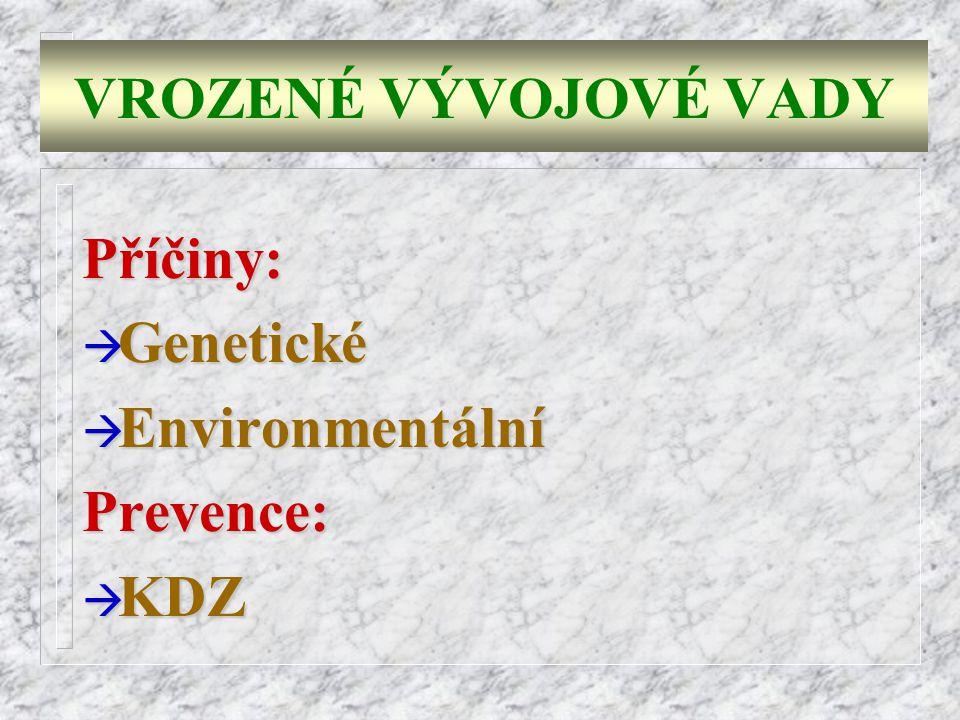VROZENÉ VÝVOJOVÉ VADY Příčiny: Genetické Environmentální Prevence: KDZ