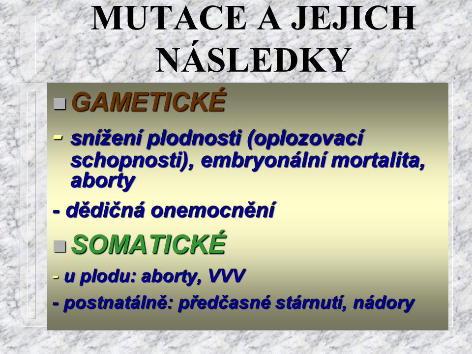 MUTACE A JEJICH NÁSLEDKY