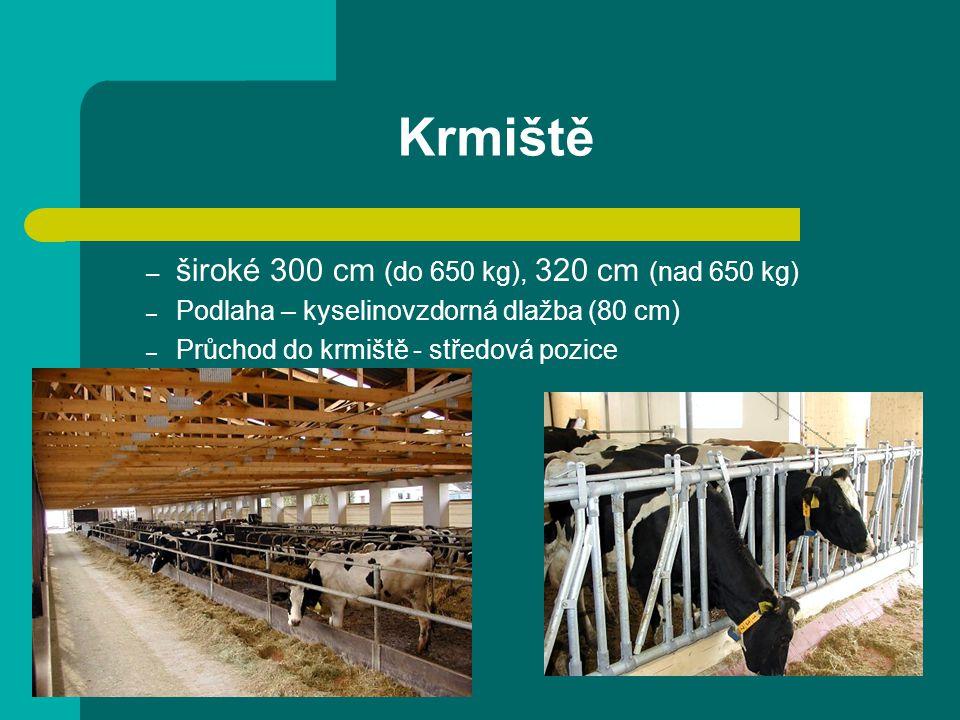 Krmiště široké 300 cm (do 650 kg), 320 cm (nad 650 kg)