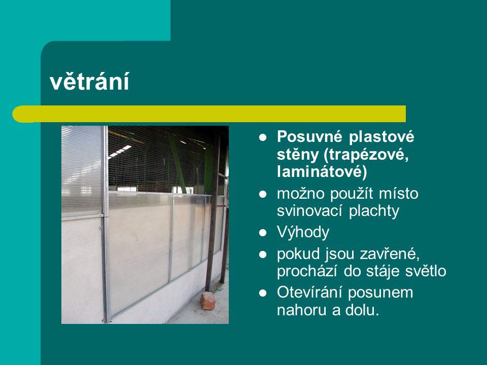 větrání Posuvné plastové stěny (trapézové, laminátové)