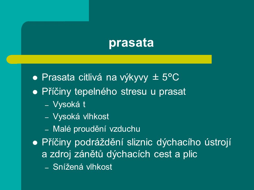prasata Prasata citlivá na výkyvy ± 5°C