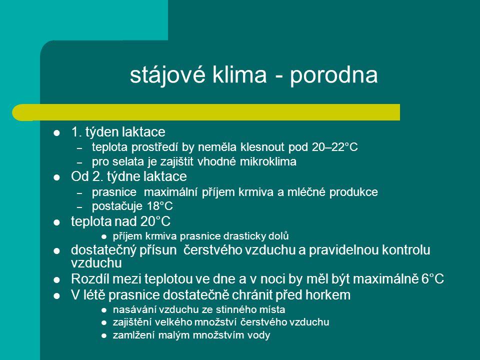 stájové klima - porodna