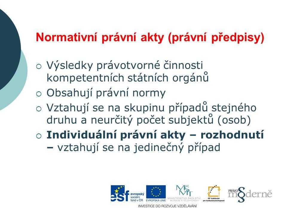 Normativní právní akty (právní předpisy)