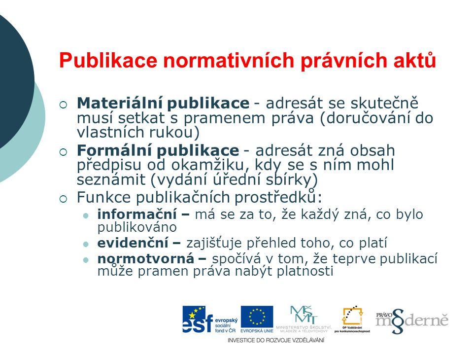 Publikace normativních právních aktů