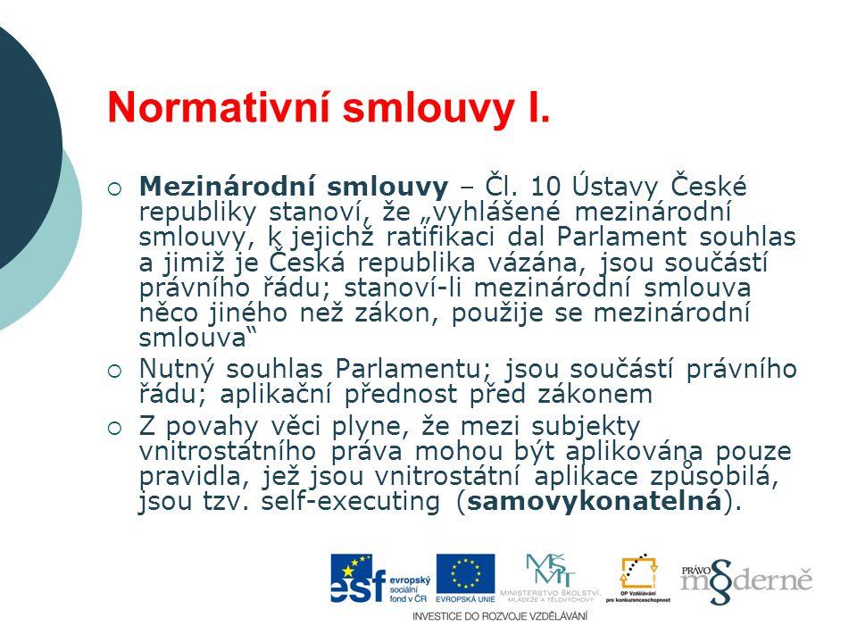 Normativní smlouvy I.