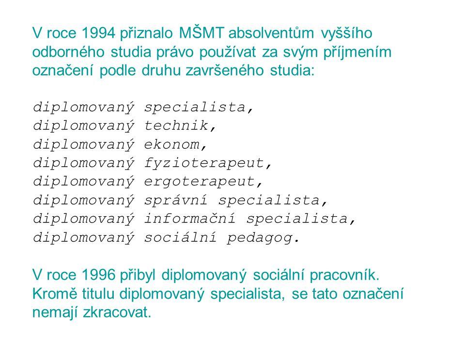 V roce 1994 přiznalo MŠMT absolventům vyššího odborného studia právo používat za svým příjmením označení podle druhu završeného studia: