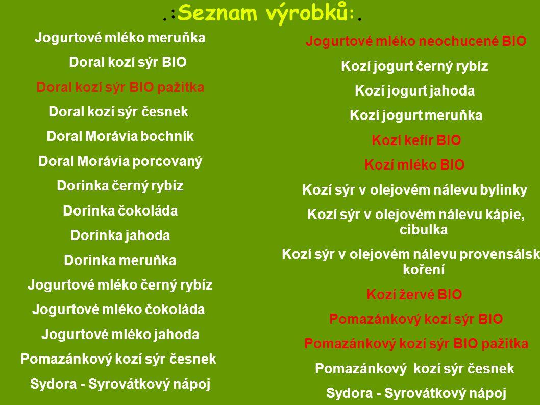 .:Seznam výrobků:. Kozí jogurt černý rybíz Kozí jogurt jahoda