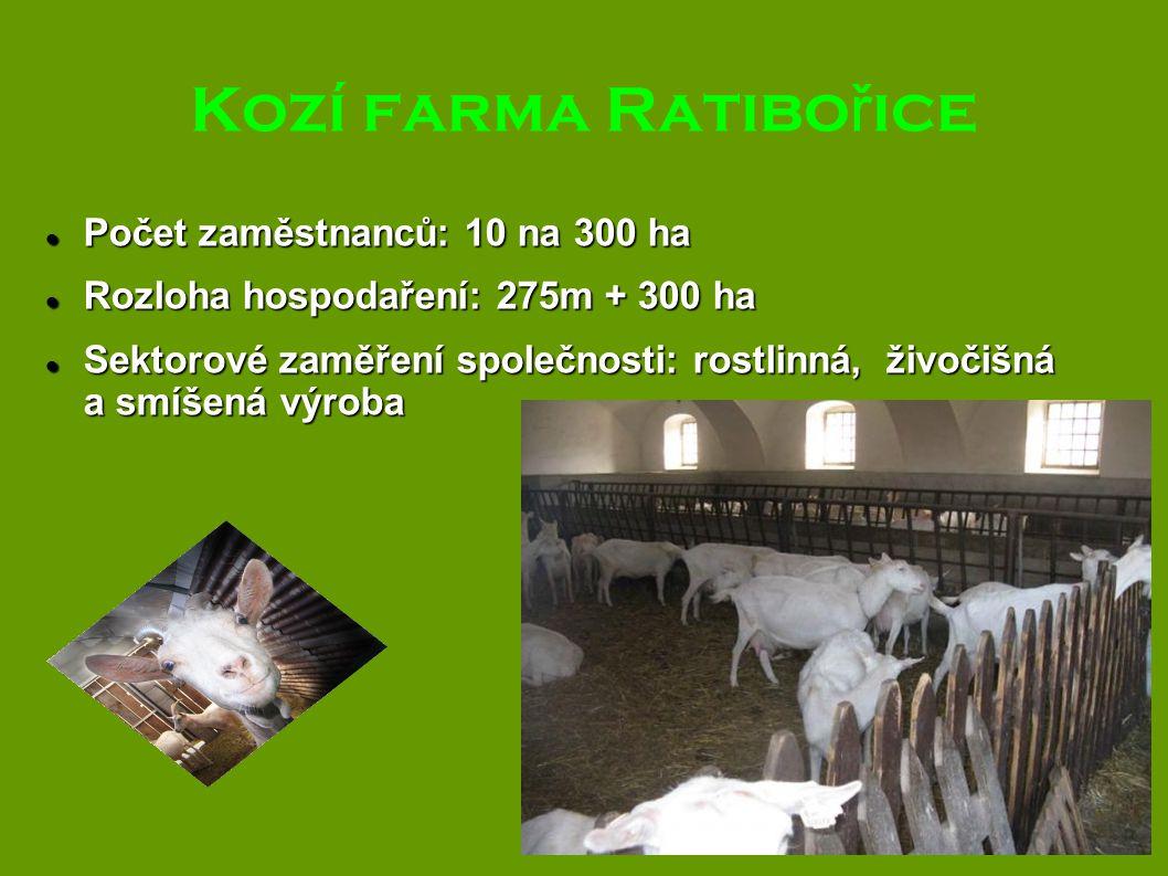 Kozí farma Ratibořice Počet zaměstnanců: 10 na 300 ha