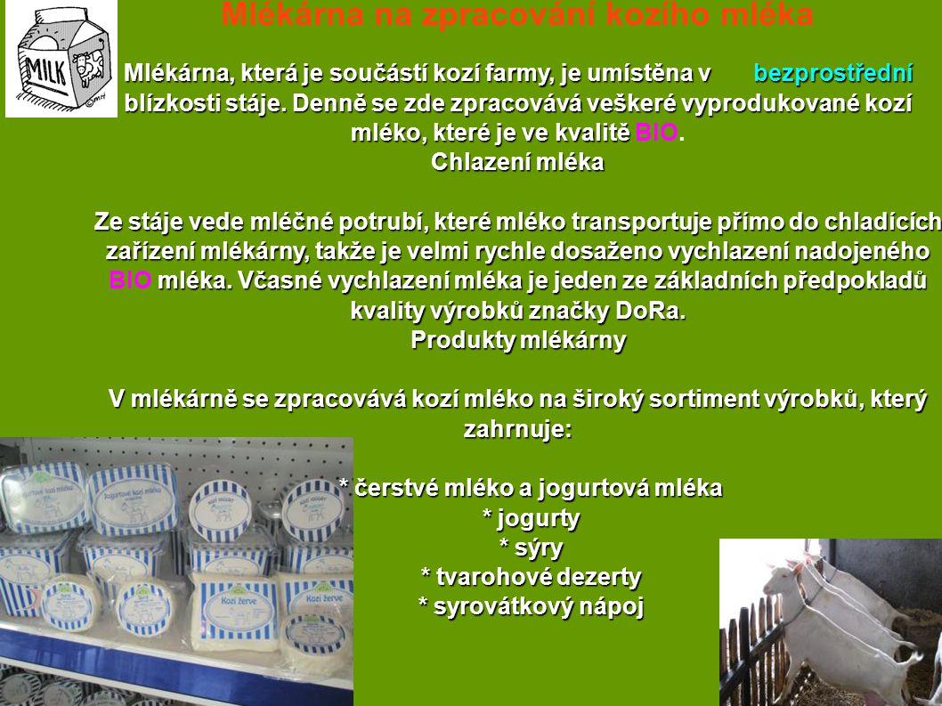 Mlékárna na zpracování kozího mléka * čerstvé mléko a jogurtová mléka