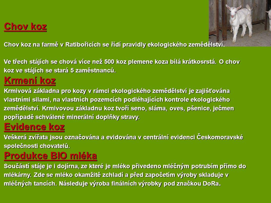 Chov koz Krmení koz Evidence koz Produkce BIO mléka