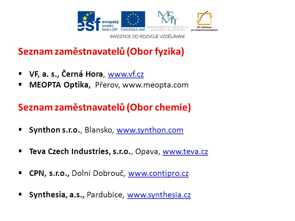 Seznam zaměstnavatelů (Obor fyzika)
