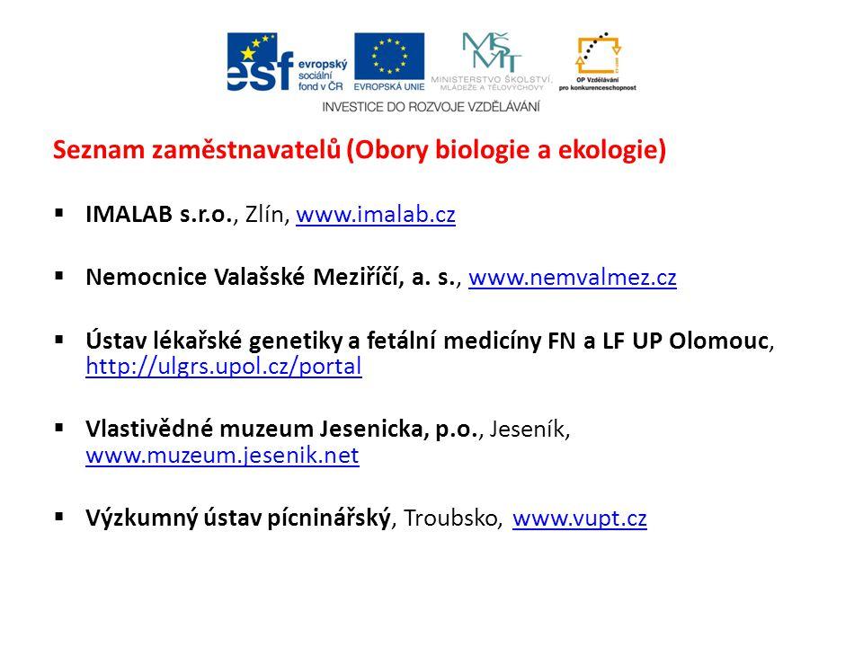 Seznam zaměstnavatelů (Obory biologie a ekologie)