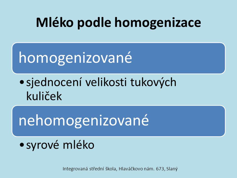 Mléko podle homogenizace