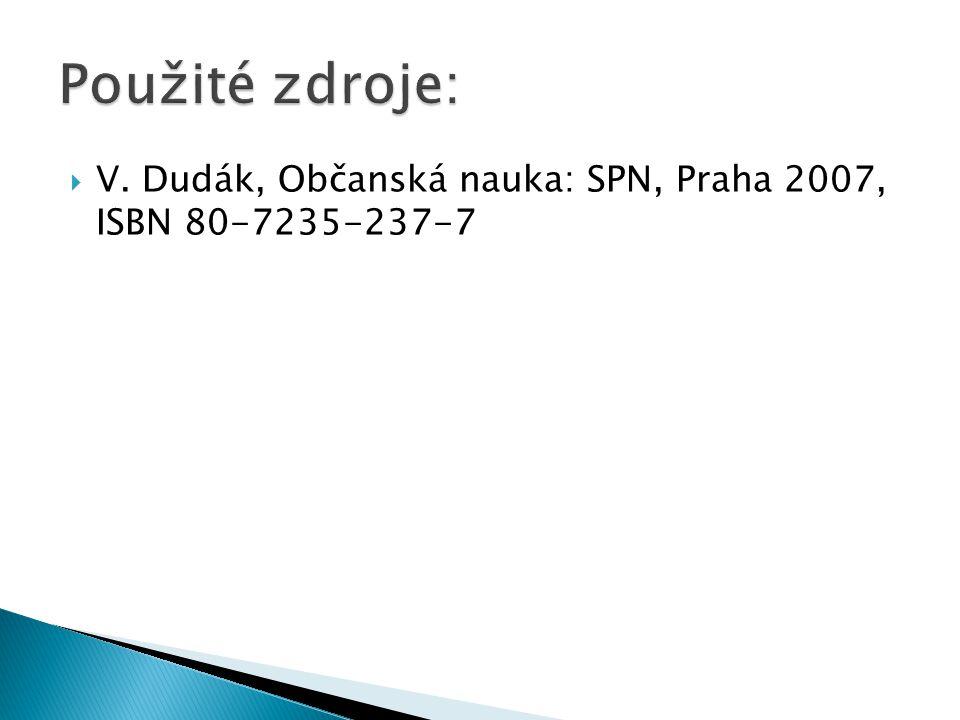 Použité zdroje: V. Dudák, Občanská nauka: SPN, Praha 2007, ISBN 80-7235-237-7