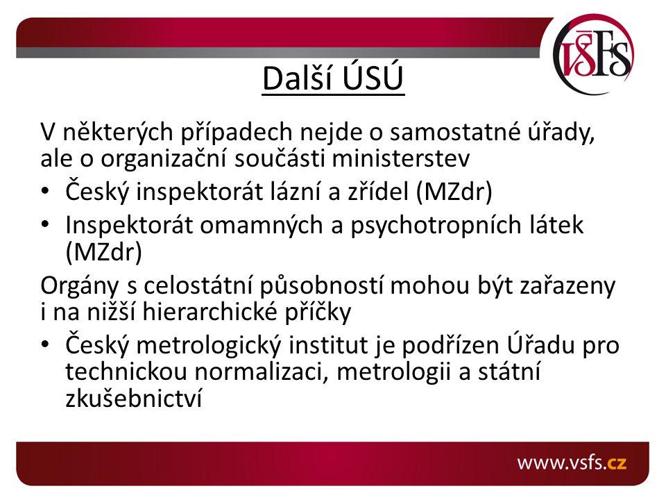 Další ÚSÚ V některých případech nejde o samostatné úřady, ale o organizační součásti ministerstev. Český inspektorát lázní a zřídel (MZdr)