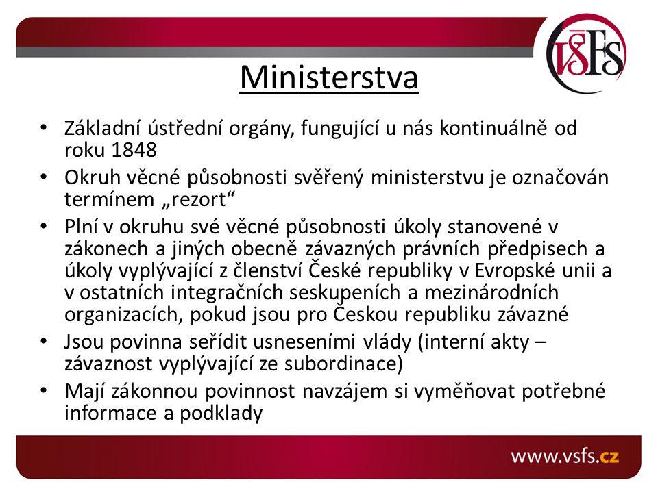 Ministerstva Základní ústřední orgány, fungující u nás kontinuálně od roku 1848.