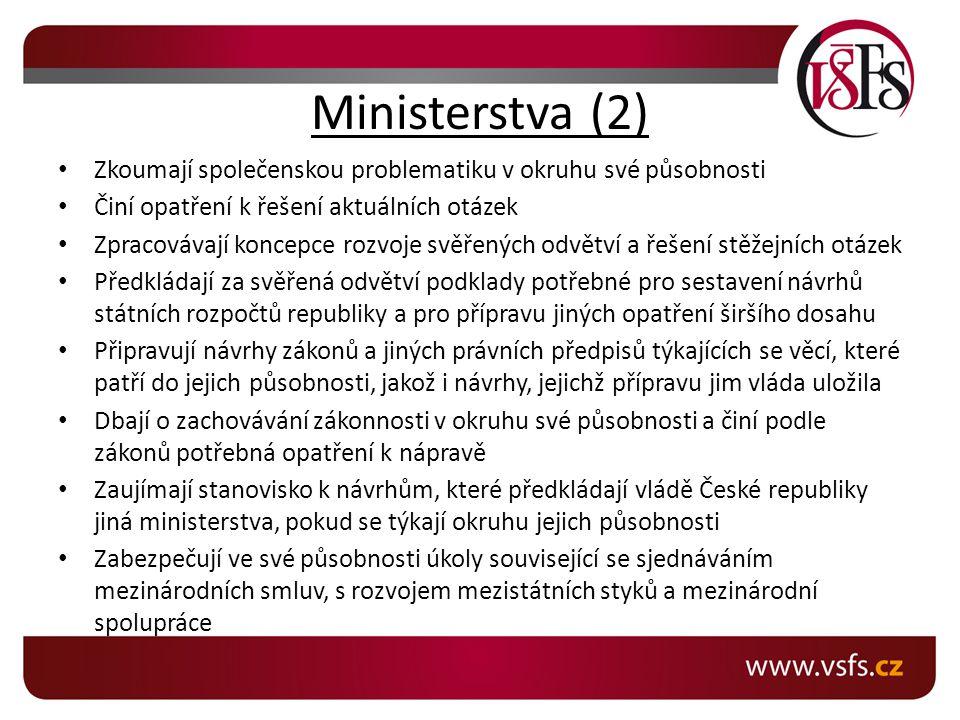 Ministerstva (2) Zkoumají společenskou problematiku v okruhu své působnosti. Činí opatření k řešení aktuálních otázek.