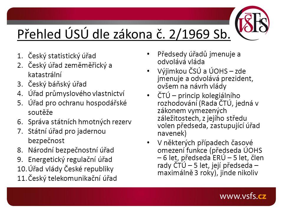 Přehled ÚSÚ dle zákona č. 2/1969 Sb.