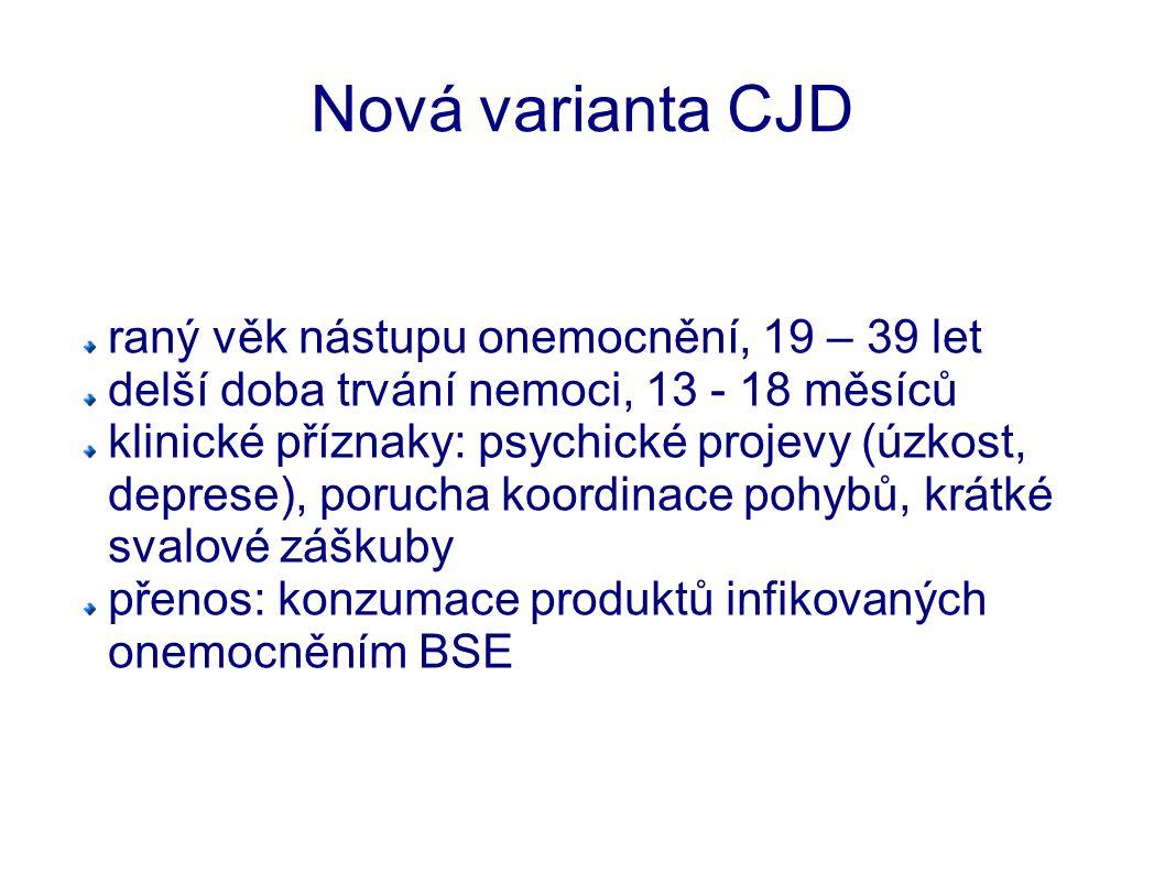 Nová varianta CJD raný věk nástupu onemocnění, 19 – 39 let