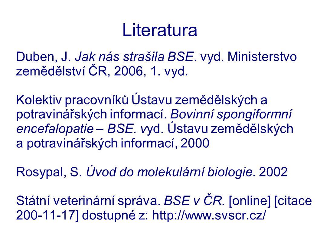 Literatura Duben, J. Jak nás strašila BSE. vyd. Ministerstvo zemědělství ČR, 2006, 1. vyd.