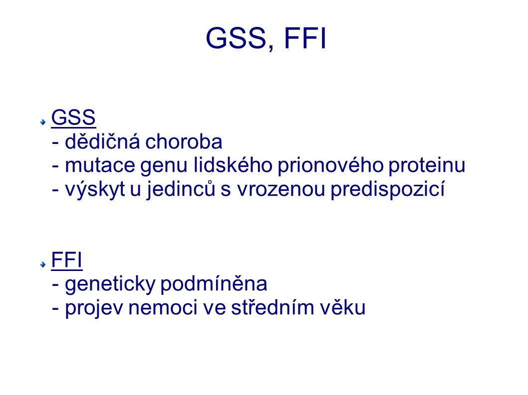 GSS, FFI GSS - dědičná choroba