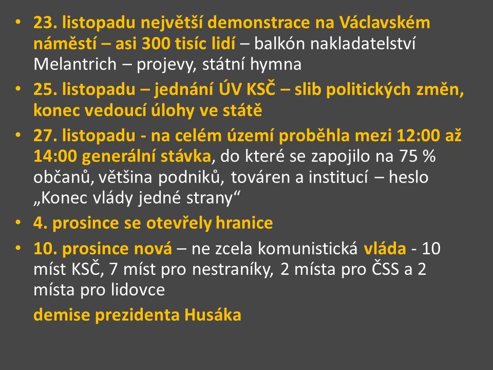 23. listopadu největší demonstrace na Václavském náměstí – asi 300 tisíc lidí – balkón nakladatelství Melantrich – projevy, státní hymna