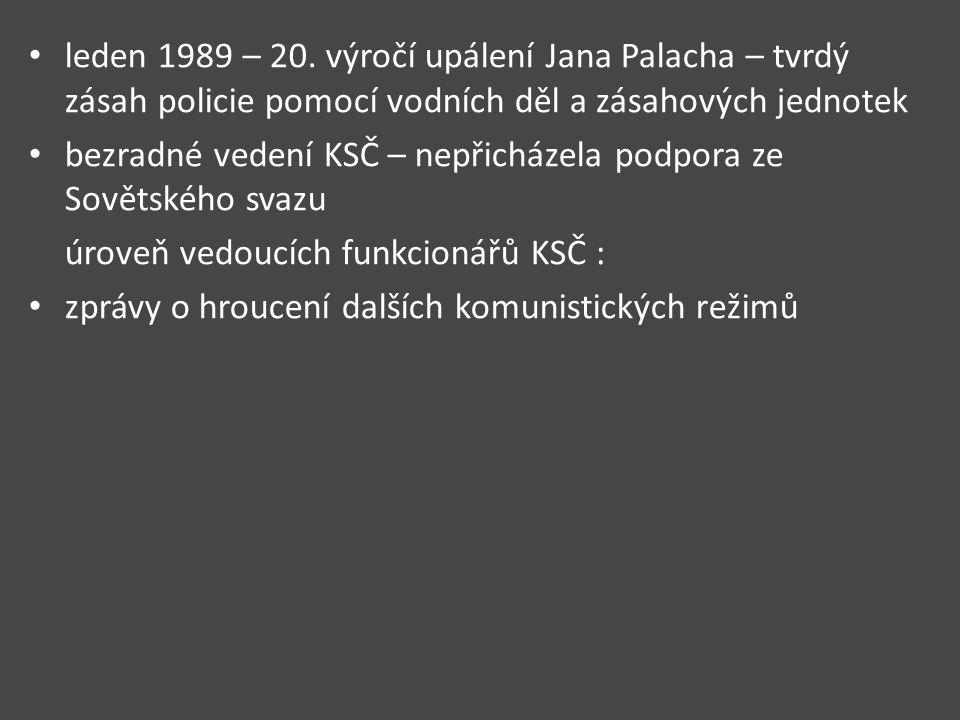 leden 1989 – 20. výročí upálení Jana Palacha – tvrdý zásah policie pomocí vodních děl a zásahových jednotek