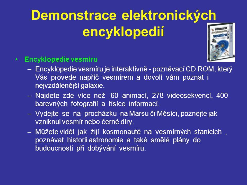 Demonstrace elektronických encyklopedií