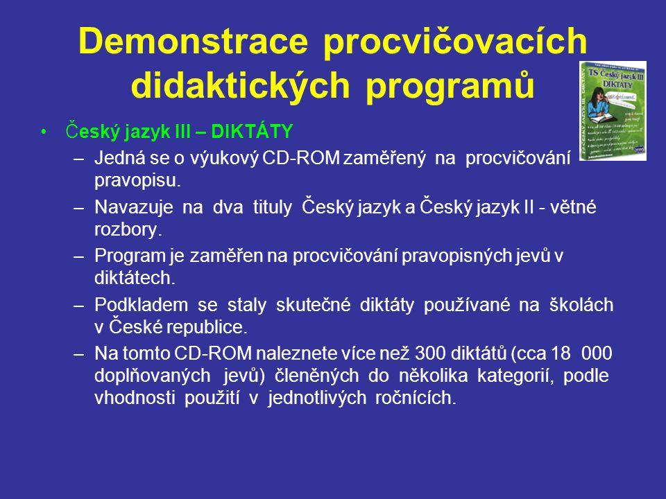 Demonstrace procvičovacích didaktických programů