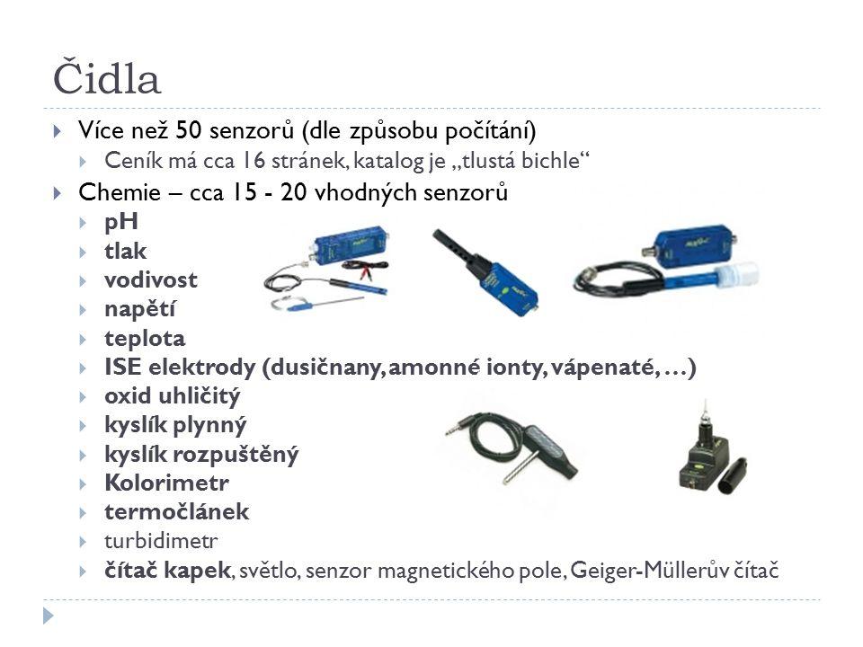 Čidla Více než 50 senzorů (dle způsobu počítání)