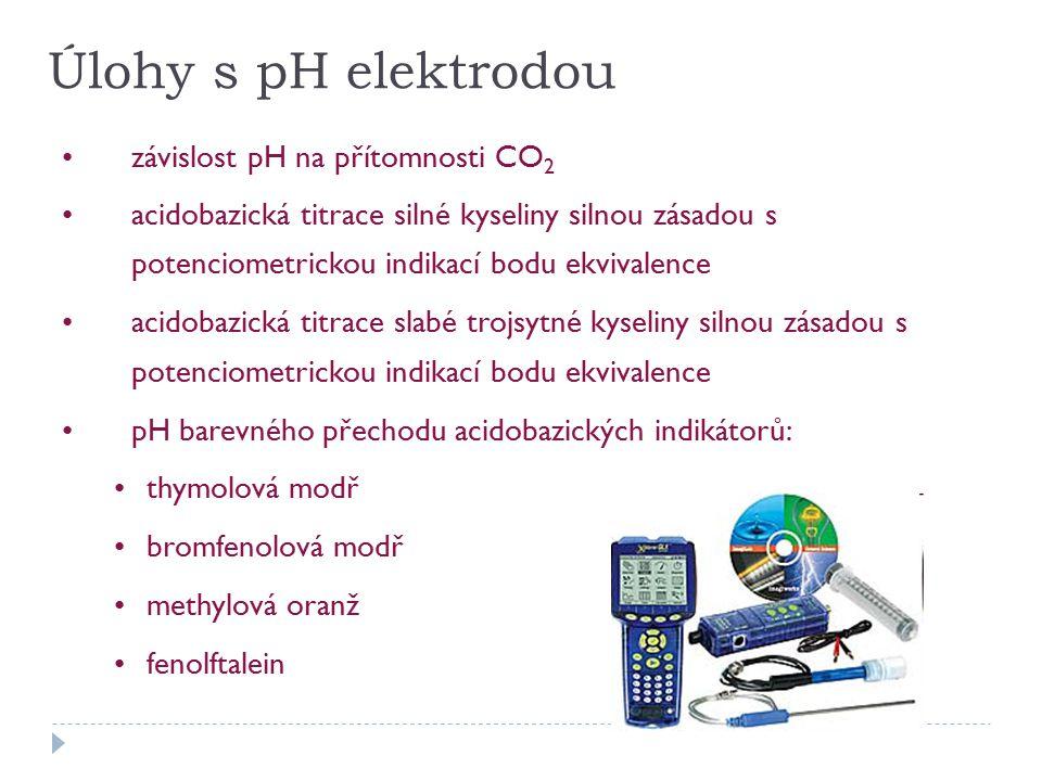 Úlohy s pH elektrodou závislost pH na přítomnosti CO2