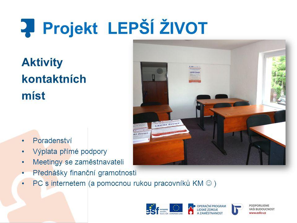 Projekt LEPŠÍ ŽIVOT Aktivity kontaktních míst Poradenství