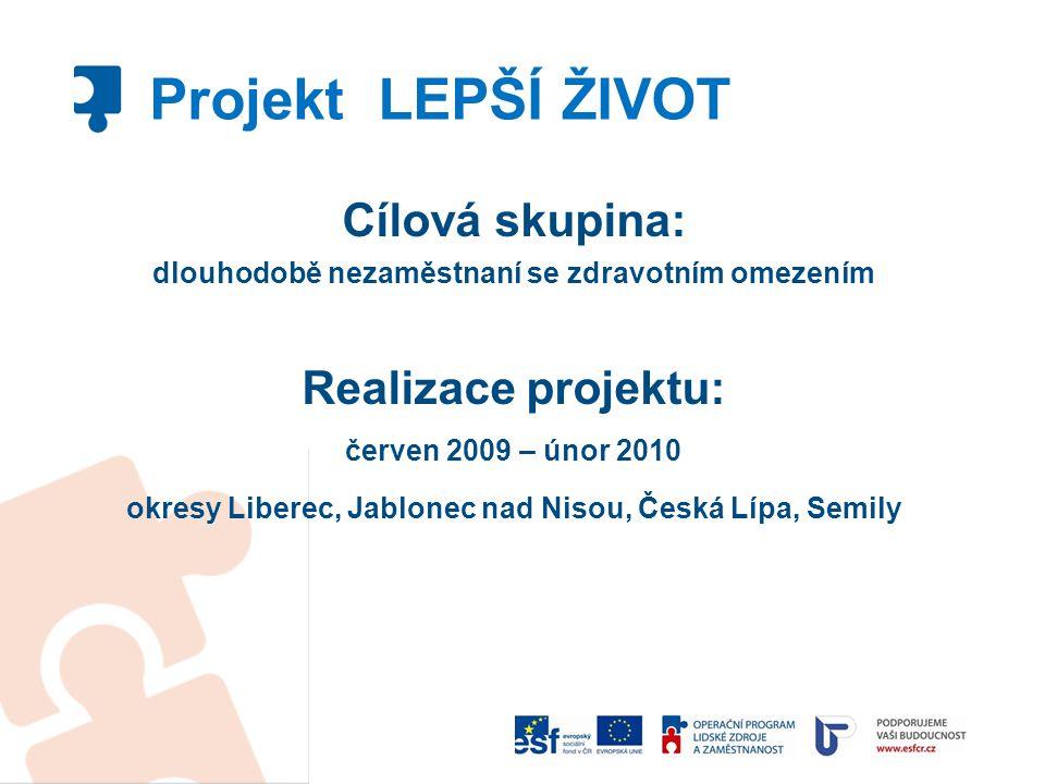 Projekt LEPŠÍ ŽIVOT Cílová skupina: Realizace projektu: