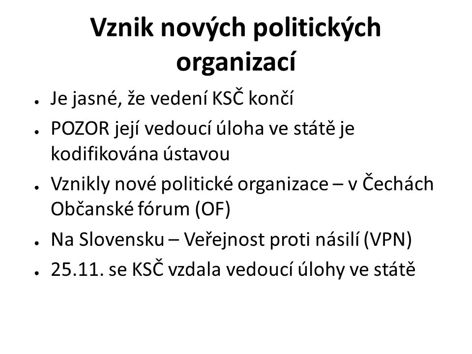 Vznik nových politických organizací